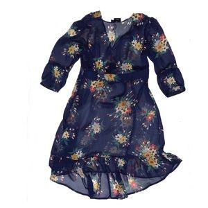 ASOS Sheer Navy Blue Floral Dress Sz 8